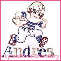 Vintage Football Player Colorwork Sketch Embroidery Design 4x4 5x7 6x10