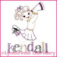 Vintage Cheerleader Colorwork Sketch Embroidery Design 4x4 5x7 6x10