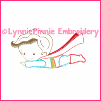 Flying Superhero Boy Cutie Colorwork Sketch Embroidery Design 4x4 5x7 6x10