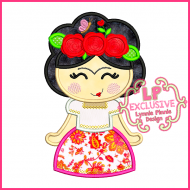 Little Frida Cutie Applique Embroidery Design 4x4 5x7 6x10 7x11