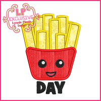Fry Day Applique Embroidery Design 4x4 5x7 6x10 7x11