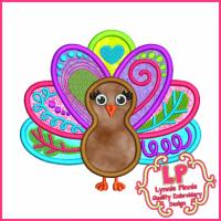 Funky Turkey Applique 4x4 5x7 6x10 SVG
