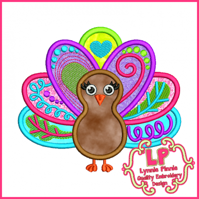 Funky Turkey Applique 4x4 5x7 6x10 SVG