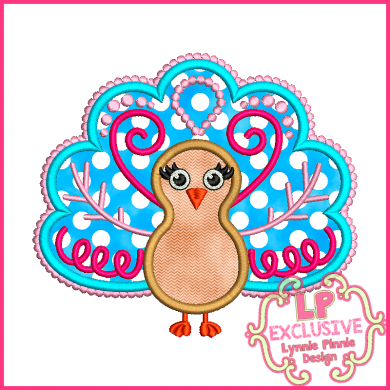 Funky Turkey 2 Applique 4x4 5x7 6x10 SVG