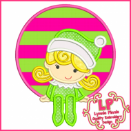 Girl Elf Circle Frame 4x4 5x7 6x10 7x11 SVG