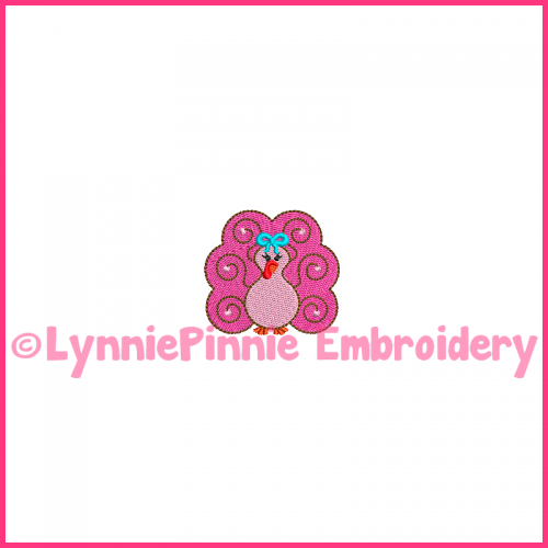 Swirly Girly TURKEY Mini Filled Embroidery Design 4x4