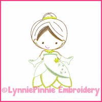 Green Princess Cutie Colorwork Sketch Embroidery Design 4x4 5x7