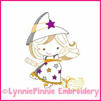 Lil Witch Cutie Colorwork Sketch Embroidery Design 4x4 5x7 6x10