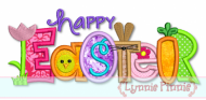 Happy Easter Collage Word Applique 4x4 5x7 6x10 SVG