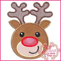 Happy Reindeer Applique 4x4 5x7 6x10 7x11 SVG