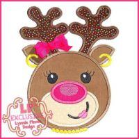 Happy Reindeer Girl Applique 4x4 5x7 6x10 7x11 SVG
