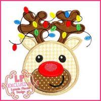 Happy Reindeer with Lights Applique 4x4 5x7 6x10 7x11 SVG