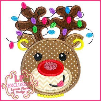 Happy Reindeer Girl with Lights Applique 4x4 5x7 6x10 7x11 SVG