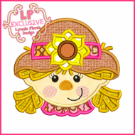 Happy Scarecrow Girl Applique 4x4 5x7 6x10 7x11 SVG