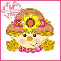 Happy Scarecrow Girl Applique 4x4 5x7 6x10 7x11 SVG