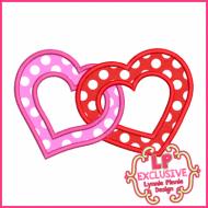 Linked Hearts Applique 4x4 5x7 6x10