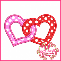 Linked Hearts Applique 4x4 5x7 6x10