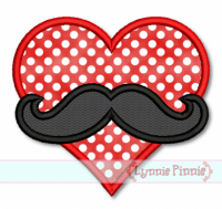 Heart with Mustache Applique 4x4 5x7 6x10 7x11 SVG