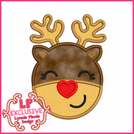 Heart Nose Reindeer Applique Design 4x4 5x7 6x10