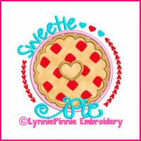 Sweetie Pie Heart Applique 4x4 5x7 6x10 7x11