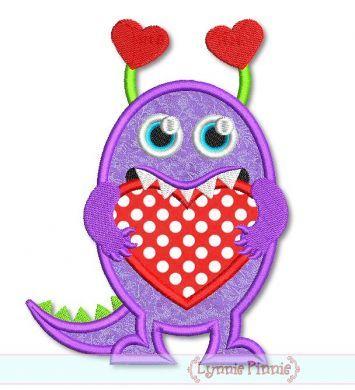 Heart Monster Applique 4x4 5x7 6x10 SVG