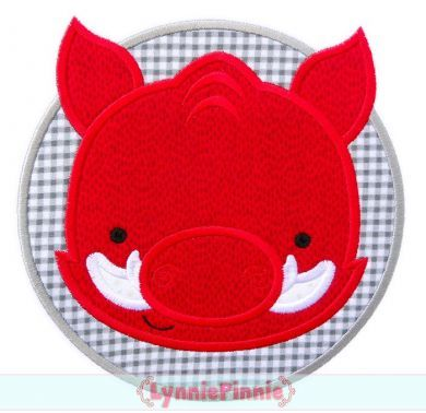 Hog Circle Applique 4x4 5x7 6x10 7x11 SVG