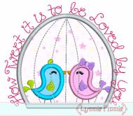 How Tweet It Is Birds in Cage Applique 4x4 5x7 6x10 7x11