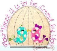 How Tweet It Is Birds in Cage DECO Applique 4x4 5x7 6x10 7x11