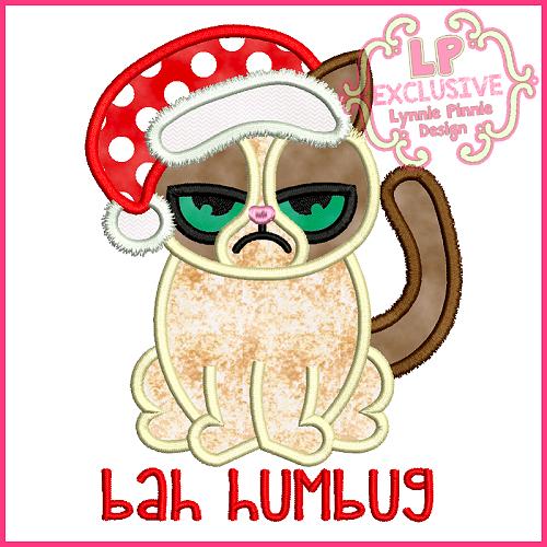 Bah Humbug Christmas Cat Applique Design 4x4 5x7 6x10