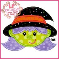 Happy Witch Applique 4x4 5x7 6x10 7x11 SVG