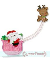 Santa with Sleigh and Reindeer Applique 4x4 5x7 6x10