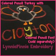 Quick Stitch Colored Pencil Sketch Triple Run Embroidery Font -- 5 sizes + BX