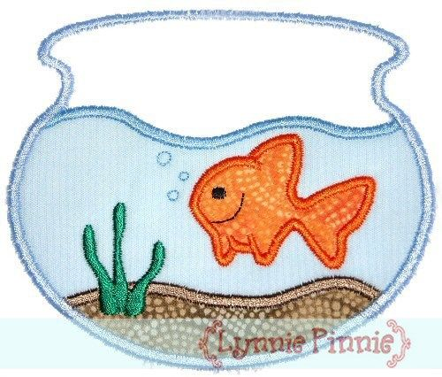 Goldfish in Bowl Applique 4x4 5x7 6x10