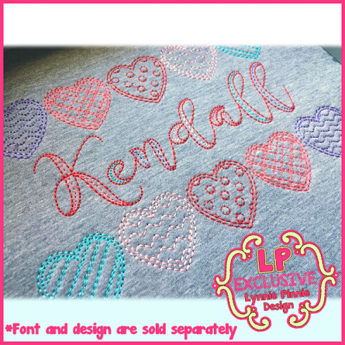 Colorwork Patterned Hearts Sketch Vintage Machine Embroidery Design File 4x4 5x7 6x10
