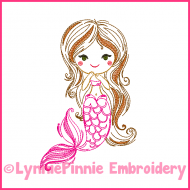 Vintage ColorWork Mermaid 1 Sketch Machine Embroidery Design File 4x4 5x7 6x10