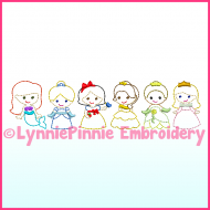 SET of 6 Mini ColorWork Princess Designs Sketch Machine Embroidery Digital Design Files - 3 sizes 4x4