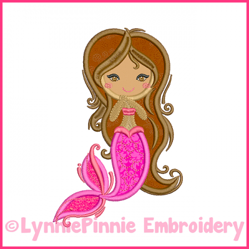 Fancy Applique Mermaid 4x4 5x7 6x10 Machine Embroidery Digital Design File