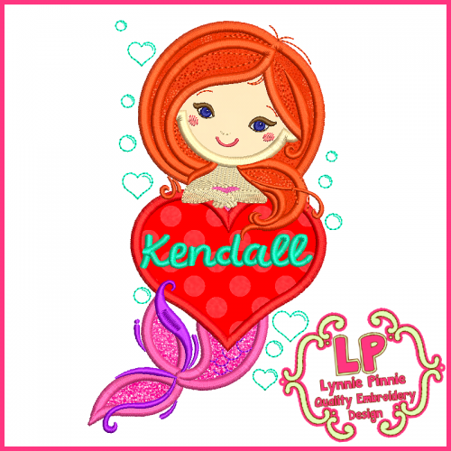 Heart Applique Mermaid 4x4 5x7 6x10 Machine Embroidery Digital Design File