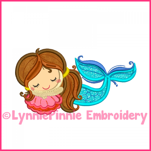 Sleepy Applique Mermaid 4x4 5x7 6x10  Machine Embroidery Digital Design File