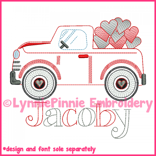 ColorWork Vintage Valentine Hearts Truck Sketch Embroidery Design 4x4 5x7 6x10
