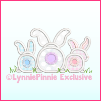 Big Bottom Bunnies Applique  Machine Embroidery Design File 4x4 5x7 6x10