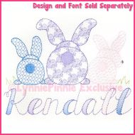 Big Bottom Bunnies 2 Sketch Pattern Fill Machine Embroidery Design File 4x4 5x7 6x10