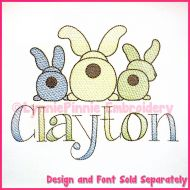 Big Bottom Bunnies Sketch Fill Machine Embroidery Design File 4x4 5x7 6x10