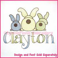 Big Bottom Bunnies Sketch Fill Machine Embroidery Design File 4x4 5x7 6x10