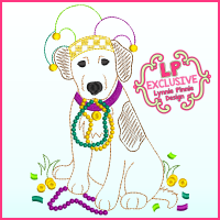 ColorWork Mardi Gras Dog Sketch Machine Embroidery Design File 4x4 5x7 6x10