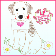 ColorWork Valentine Dog Sketch Machine Embroidery Design File 4x4 5x7 6x10