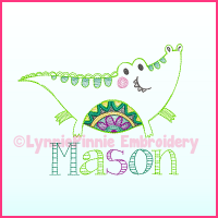 Colorwork Tribal Alligator Machine Embroidery Design File 4x4 5x7 6x10