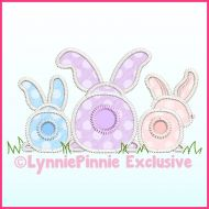 Big Bottom Bunnies Triple Zig Zag Applique Machine Embroidery Design File 4x4 5x7 6x10