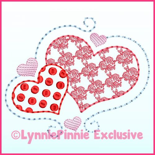 Motif Fill Swirl Hearts Machine Embroidery Design File 4x4 5x7 6x10