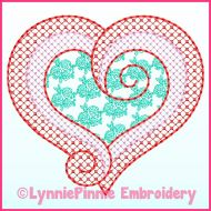 Pattern Fill Swirl Heart Machine Embroidery Design File 4x4 5x7 6x10
